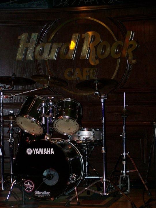 Drum setup at Hard Rock Cafe, in Saint Louis